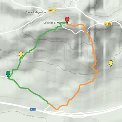 Carte du Route du Cerro de S.Miguel
